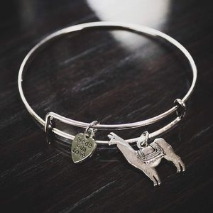 Jewelry - Adjustable silver plated llama charm bracelet